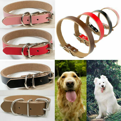 Adjustable Strong Real Leather Dog Collar Pet Cat Puppy Durable Collar UK Seller