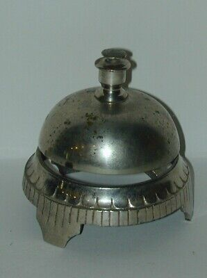 Cast Iron & Brass Nickel Plated Hotel Desk Bell Circa 1900 Great Ring to Bell!