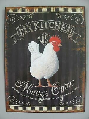 Metal Sign,Advertisement Sign My Kitchen Always Open, Pubs Wall 13x9 13/16in