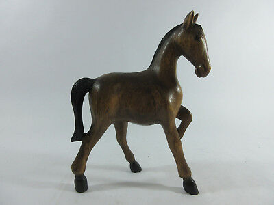"Beautiful, Wood Carved Foal, Horse Figure - 10"" Tall - Brown, Black - EUC"