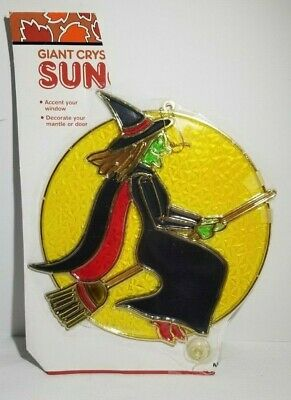 1980s New Design Halloween Stained Glass Look Witch Riding Broom Moon Suncatcher