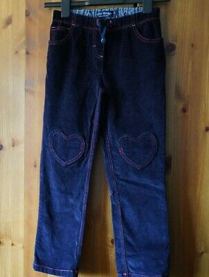 MINI BODEN Age 9 Years Girls Navy Fine Corduroy Cord Trousers Heart Detailing