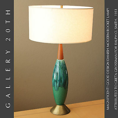 Danish Delight! Mid Century Modern Greta Grossman Lamp! Ralph O Smith Atomic 50S