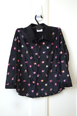 CHILDS VINTAGE LADYBIRD BLACK VELVET SHIRT WITH FLOWERS 1990s  Age 5-6 YEARS