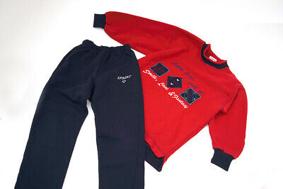 Vintage 90s SPRINT Girls Tracksuit  6 - 8  Years Red Top and Blue Trousers