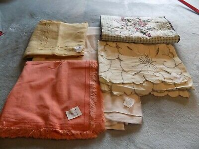Lot of Vintage Tablecloths ,Runner, Table Scarves  5 Pieces