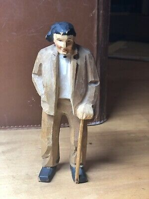 "vtg Hand Carved Captain, Fisherman or Crew w/walking stick  5"" Wooden Figurine"