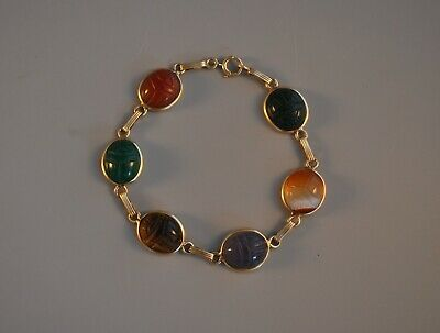 14K Solid Gold Egyptian Carved Scarab Beetle Gemstone Bracelet Hieroglyph Symbol