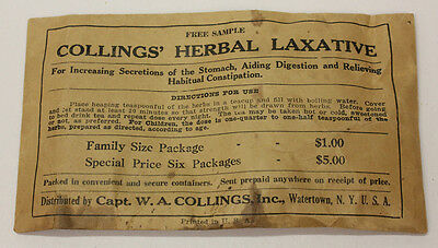 Colling's Herbal Laxative, Sealed Sample