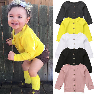 UK Newborn Kid Baby Girl Knitted Button Sweater Cardigan Coat Casual Top Autumn