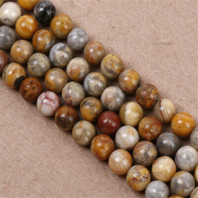 4-12mm Natural Crazy Agate Round Loose Beads Diy Accessories Hole Healing Strand