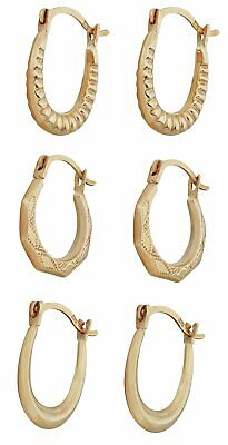 Silver /& Rose Gold Bamboo Creole Earrings ER32702 New 3 Pack of Gold Colour