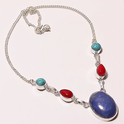 """Lovely ! Lapis Lazuli Coral Turquoise Silver Plated Handmade Necklace 17-18"""""""