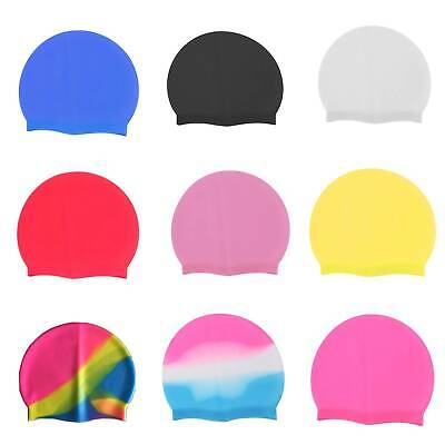 Unisex Adult Kids Children Swimming Pool Cap Silicone Swim Hat Waterproof  UK