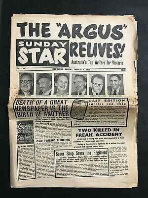 The Argus Sunday Star Newspaper From March 3 1957 1St Issue