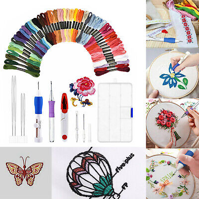 5,50 Magic Embroidery Pen Punch Needle Set Knitting Sewing Tool DIY Crafts AU #