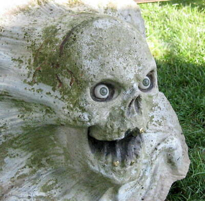Antique Skull Concrete Architectural Salvage Fragment / Sculpture Scary Spooky