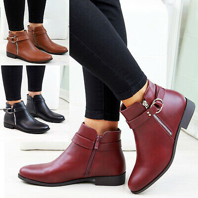 New Womens Ladies Flat Ankle Boots Zip Embellished Casual Low Heel Shoes Sizes