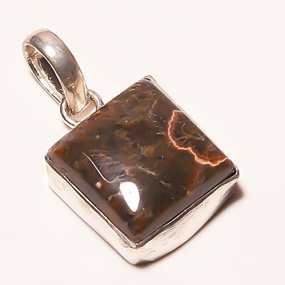 Lovely ! Mexican Fire Agate Gemstone Silver Plated Handmade Pendant 1.75""