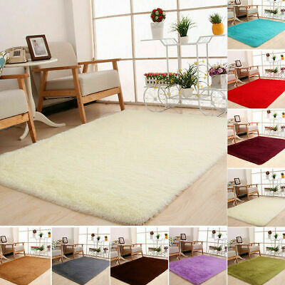 Fluffy Rugs Soft Wool Anti-Skid Shaggy Area Rug Carpet Home Bedroom Floor Mat UK