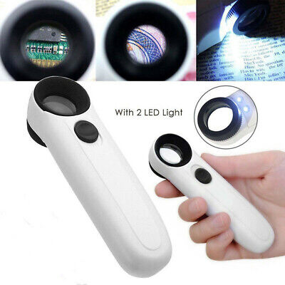 40X Handheld Magnifier Reading Magnifying Glass Jewelry Loupe With 2LED Light AU