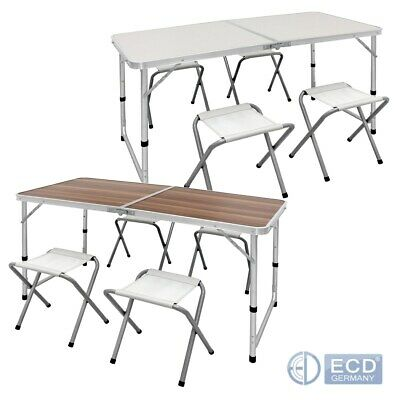 4FT camping catering heavy duty folding table trestle + 4chair white/wood finish