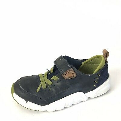 Clarks Sneakers Boys 12 W Blue Leather Strap Toddler Play Casual