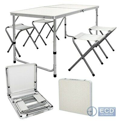 4FT Camping catering heavy duty folding table trestle picnic BBQ + 4 chair white