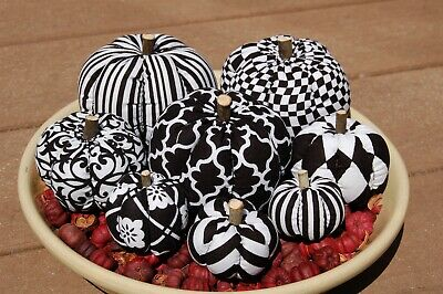 Primitive Fall Halloween Black & White Mixture Pumpkin Ornies, Different Prints