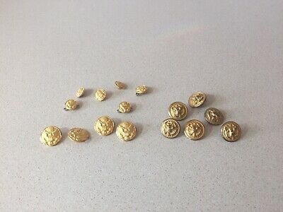 Lot of 16 Vintage Military Eagle Coat of Arms Metal Buttons Waterbury, Superior