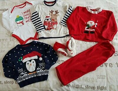Boys Christmas Bundle 12-18 Months Inc Jumper Bodysuit Top Set Booties