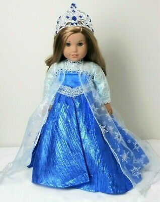 "Blue Ice Princess Dress & Crown Costume Made for 18"" American Girl Doll Clothes"