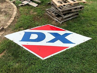 LARGE ORIGINAL Vintage DX Porcelain SIGN Gas Station Oil Nice OLD Wall Hanger