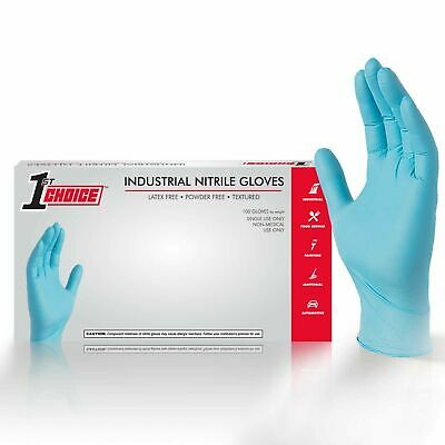 100/box 1st Choice Blue Nitrile Latex Free 3 Mil Disposable Gloves (Non Vinyl)