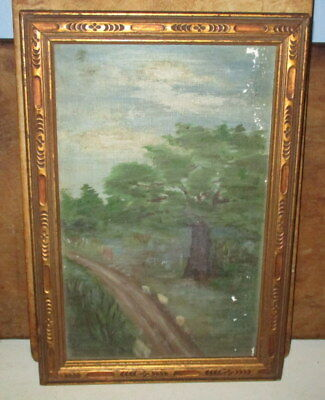 Antique Oil On Canvas Painting Landscape Of Tree's Along Path-Unsigned