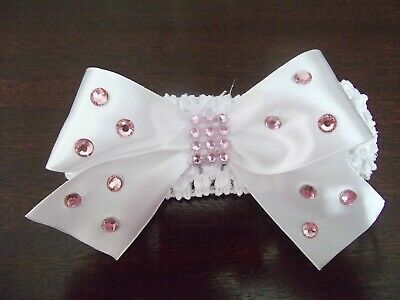 White Baby / Girls Crochet Romany Bling Headband with white bow + pink gems