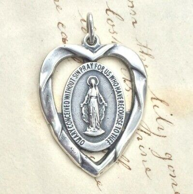 Miraculous Medal Heart Shaped - Sterling Silver Antique Replica