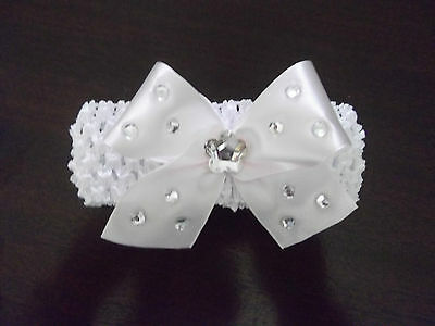 White Baby / Girls Crochet Romany Bling Headband with white bow.