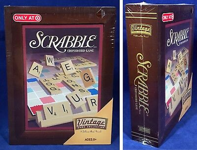 New - SCRABBLE Vintage Game Collection WOODEN Bookshelf Wood Box 2009 SEALED