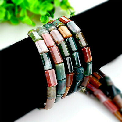 1pcs 8x13mm Indian Agate Flat CylinderLoose Bead Stone Opaque Craft Lots Diy