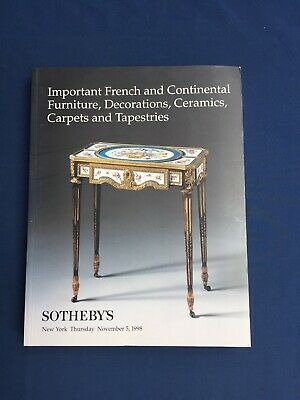 Sotheby's Auction Catalog French Continental Furniture Ceramics Carpets NY 1998