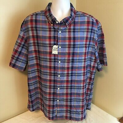 Jos A Bank 1905 Collection Mens Shirt 2XL XXL 100% Cotton Madras Blue Red Plaid