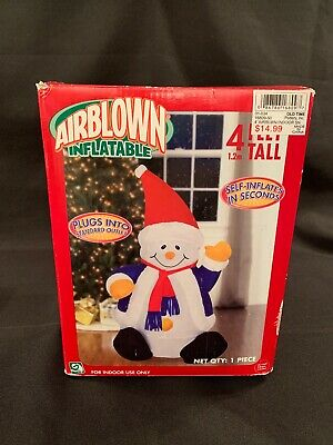 2004 Gemmy 4' Airblown Inflatable Waving Snowman W/Box Indoor Self-Inflates!