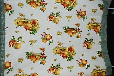 Apples Fruits Berries Gingham Plaid Tablecloth Orange/Green 52x54 Square Cotton