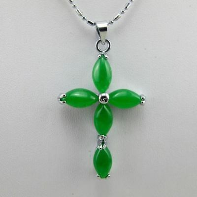 Beautiful Green Jade Cross Silver Amulet Pendant Necklaces