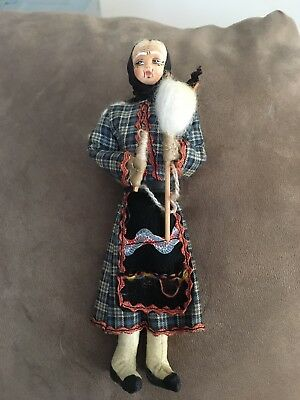 Vintage European Fabric Folk Old Lady Doll - Handmade with Bisque Face & Shoes