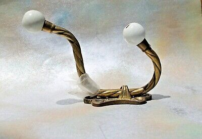 Brass 2 Hook Wall Mount Coat Clothing Hanger with Porcelain Knobs, New + screws