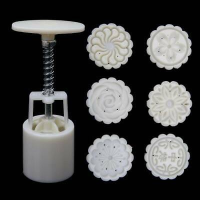 6 Rose Flower Stamps Moon Cake Decor Mould Round Mooncake Mold Tool 50g DIY New