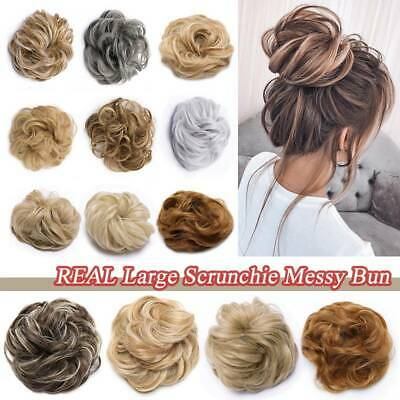 US Curly Messy Bun Scrunchie Hair Extensions For Human THICK Updo REAL Chignon