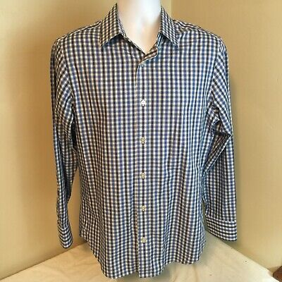 Banana Republic Mens Medium Slim Fit Shirt 100% Cotton Black Blue White Plaid FS